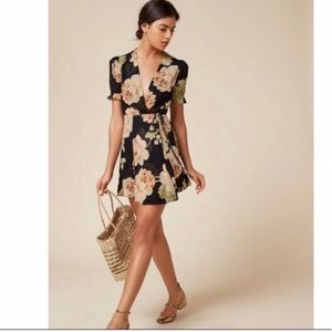 Reformation floral wrap dress